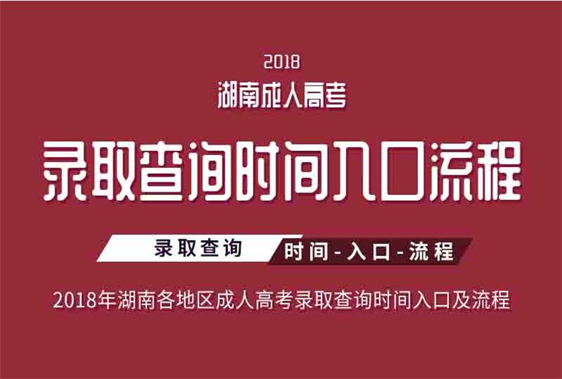 2018湖南省各地区成人高考录取查询时间、入口及流程
